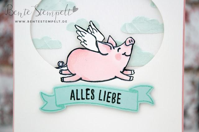 Stampin Up Glücksschweinchen Blends Strukturpaste Flügel Alles Liebe Technik Stanzen Big Shot inverse