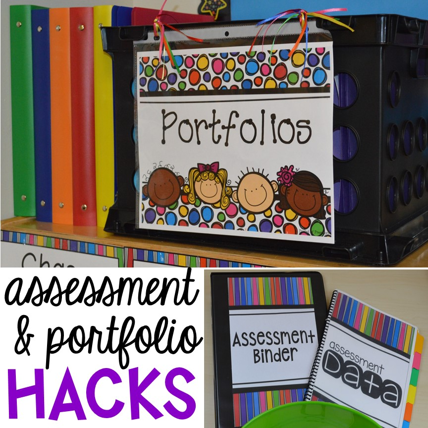 Organization HACKS to make student portfolios and assessments easier. For preschool, pre-k, and kindergarten.