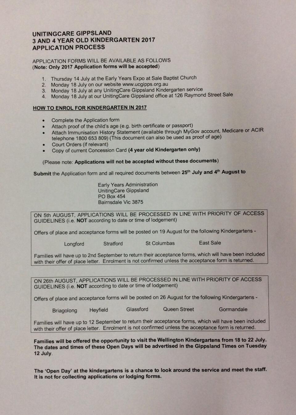 East sale kindergarten 2017 application process priority of access falaconquin