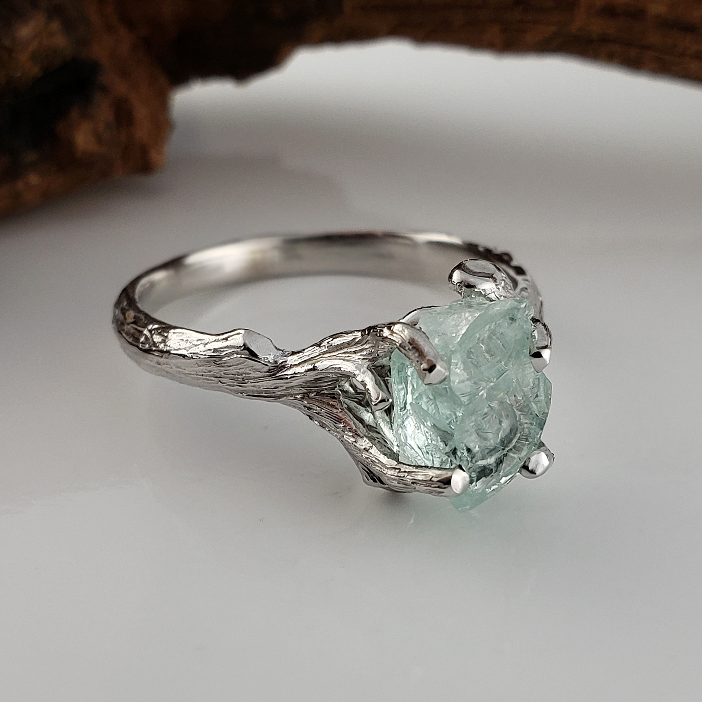 rustic rings jewelers silver wedding glacier raw aquamarine wexford ring