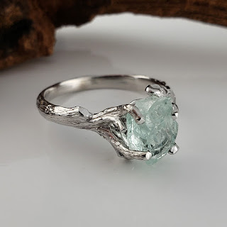 Uncut Rough Aquamarine Engagement Ring