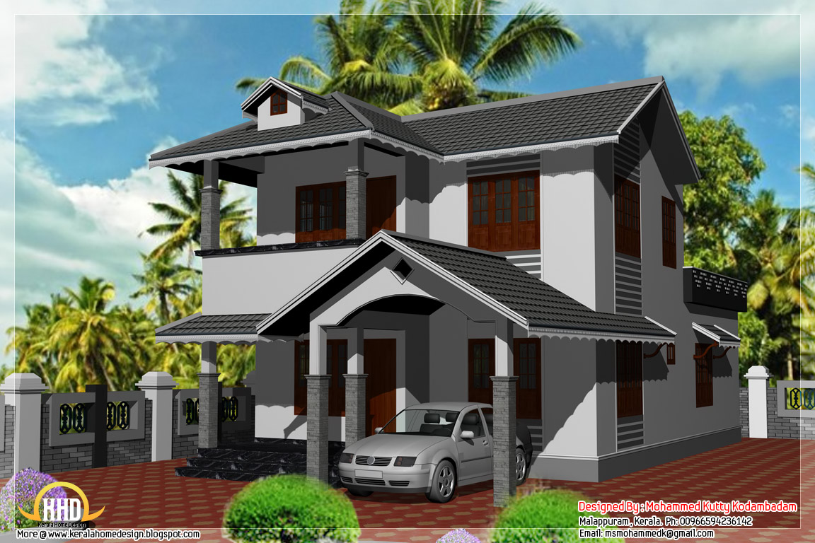 3 bedroom 1800 kerala style house kerala home for Kerala style 2 bedroom house plans