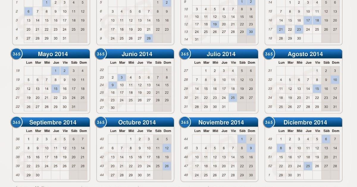 Calendario Anual 2014 Con Feriados Calendario 2014 Para