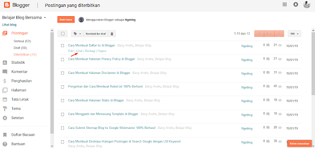 Cara Mudah Posting Artikel Di Blogger - Cara Melihat Artikel Postingan di Blogger