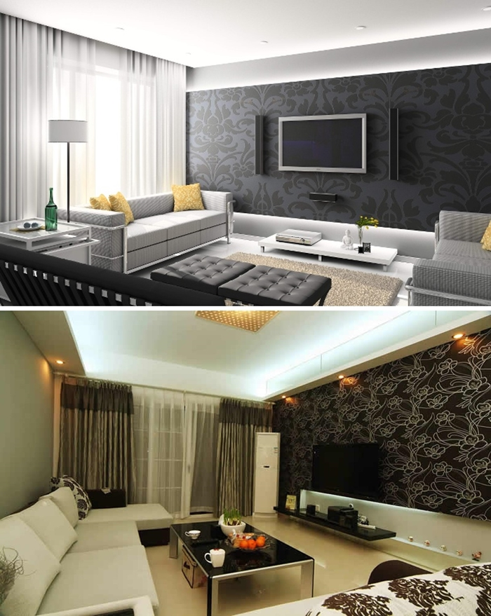 Vida de Sonhos: Inspirações: Sala decorada com papel de parede