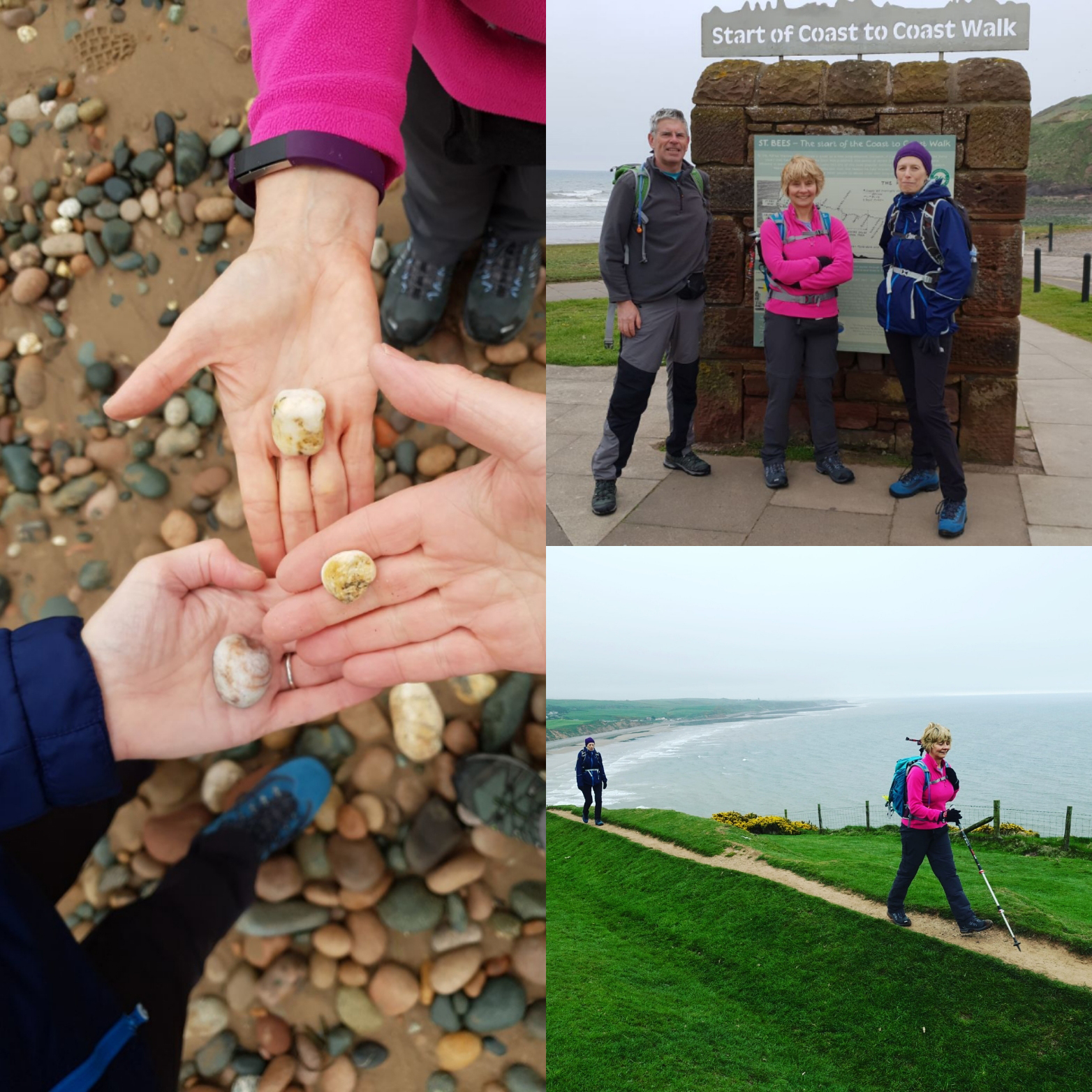 Three pictures showing St Bees at the start of the Wainwright Coast to Coast walk