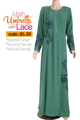Jubah Umbrella Lace JEL-29 Sea Green Depan 10