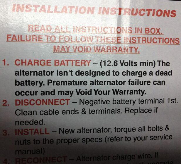 No, but seriously: Your alternator doesn't charge your