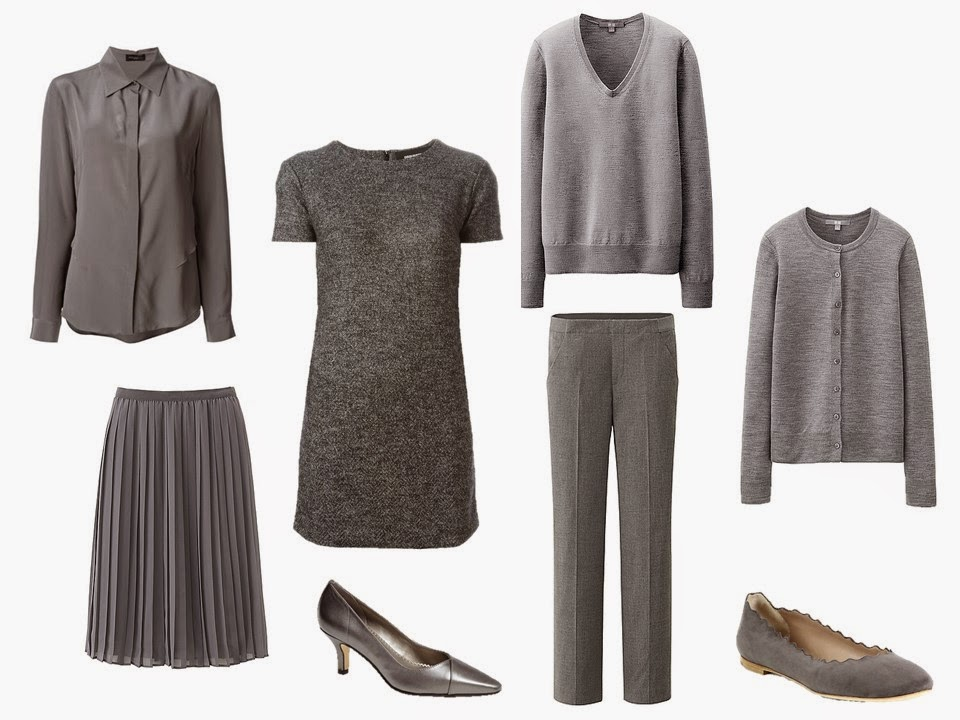 "six-piece ""Monday Morning"" grey wardrobe with two pair of shoes"