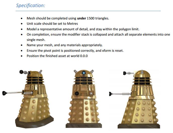 James Broderick Design Blog: 3DS Max First Model - Dalek