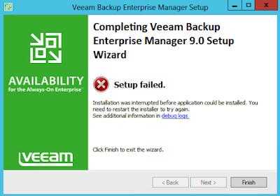 Veeam: Upgrade issue - Warning 1327 Invalid Drive D