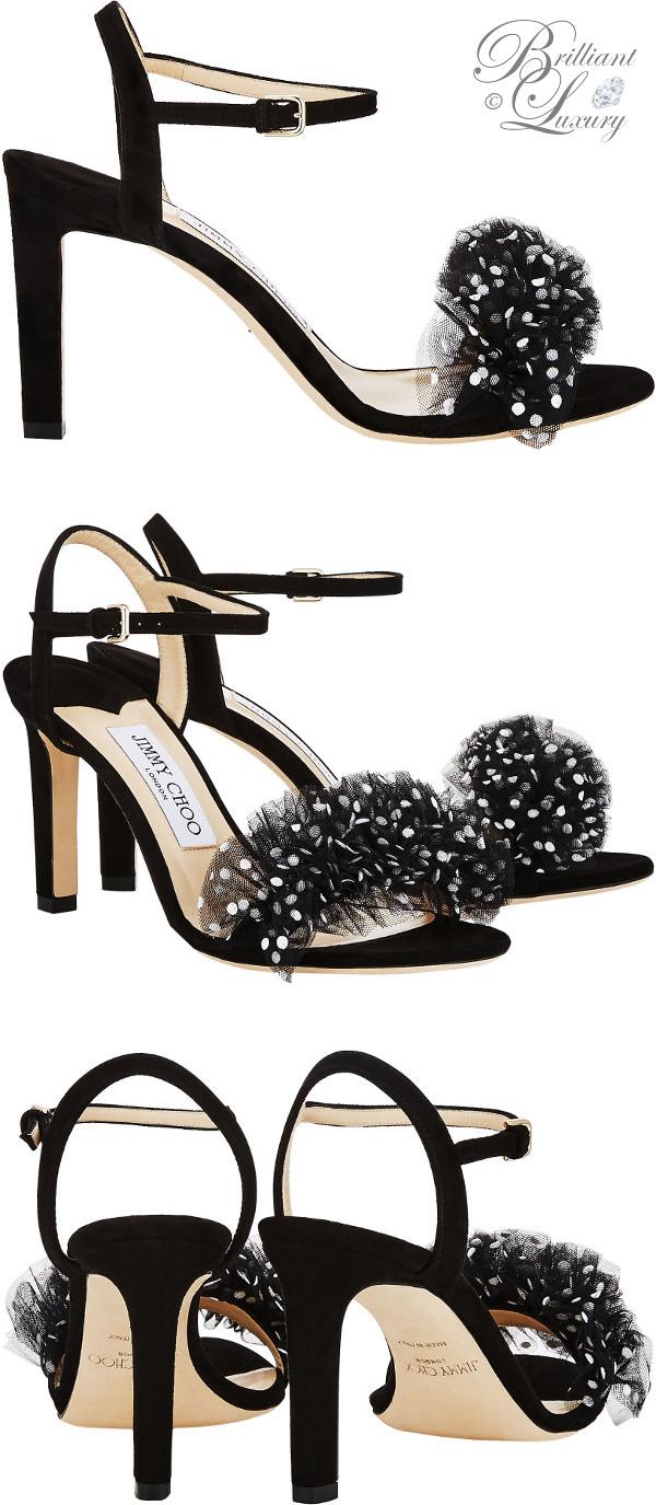 optimized pins Brilliant Luxury ♦ Jimmy Choo Jamille Black Suede Open Toe Sandal with Polka Dot Tulle #brilliantluxury