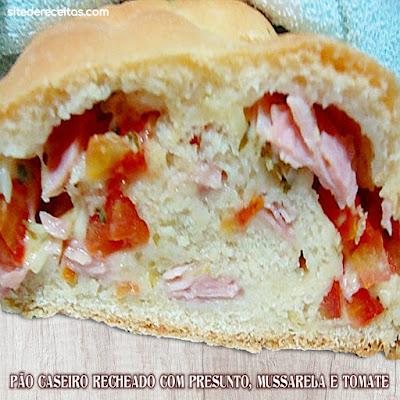 Pão caseiro recheado com presunto, mussarela e tomate