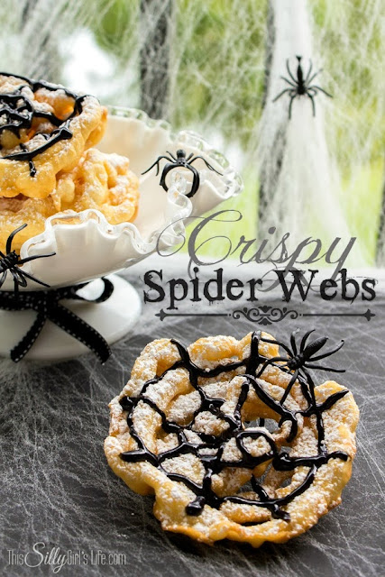 Halloween spider web funnel cakes
