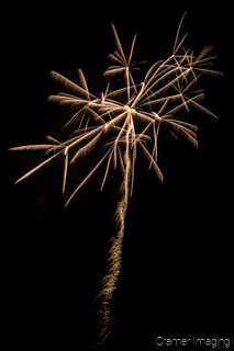 Cramer Imaging's fine art photograph of a single odd-shaped firework in the night sky on the 4th of July