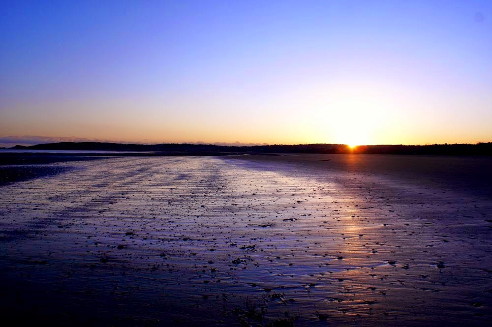 sunset beach swansea south wales britain gower uk