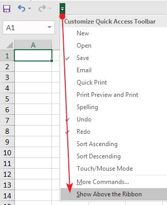 Merubah Letak Quick Access Toolbar Excel