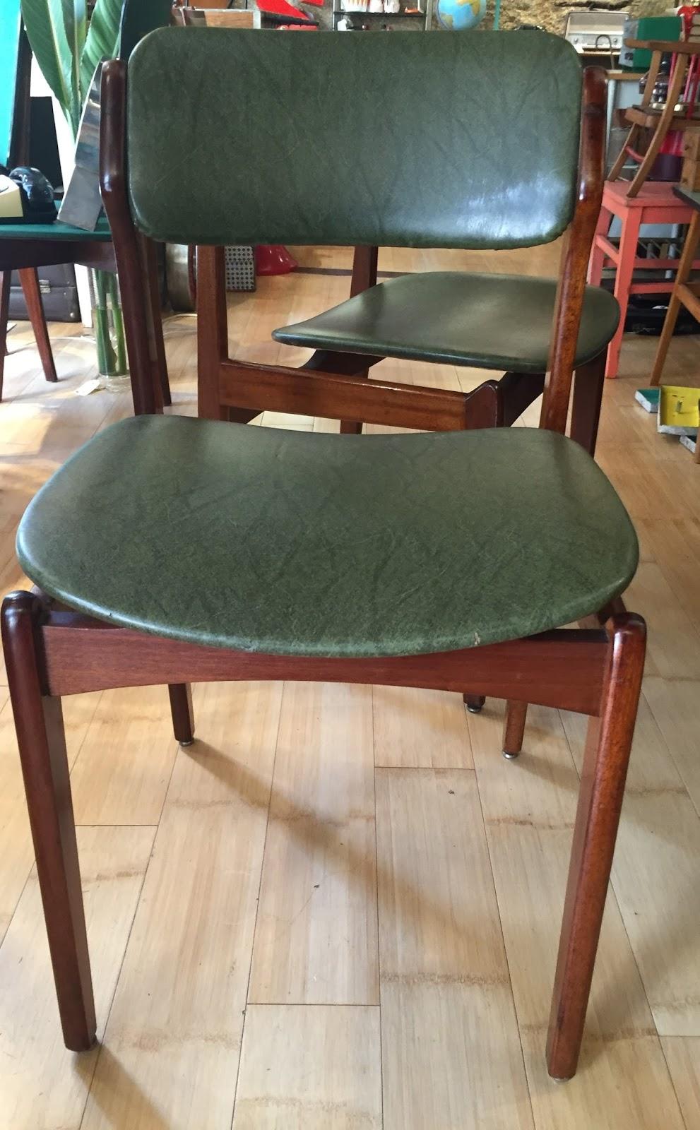 Sillas danesas tapizado polipiel verde a os 60 vintage - Sillas anos 60 ...