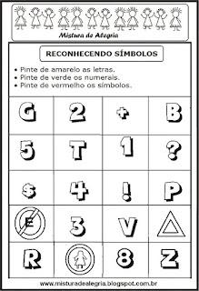 Identificar símbolos alfabetização
