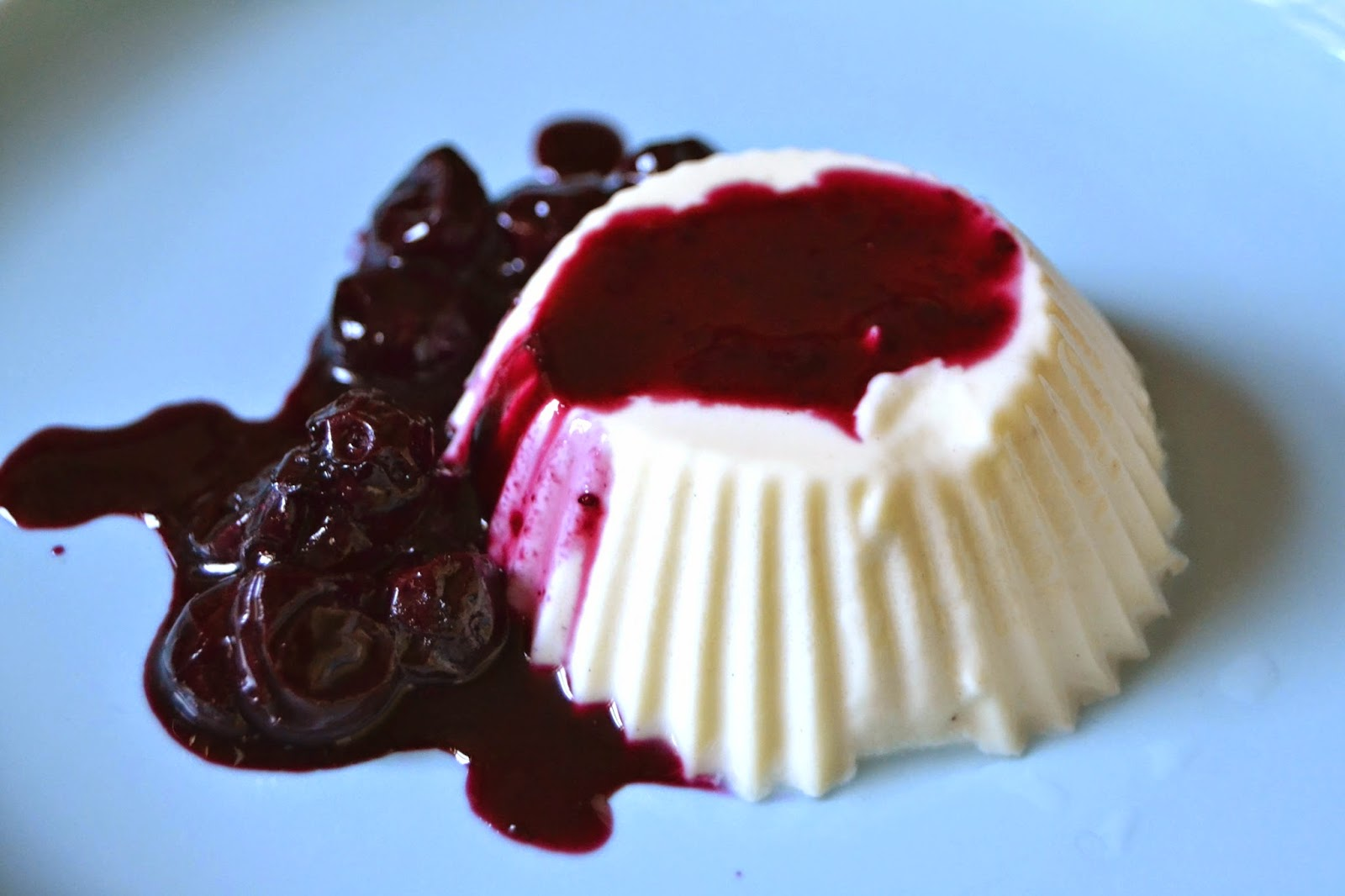 Panna Cotta with Blueberry Limoncello Syrup