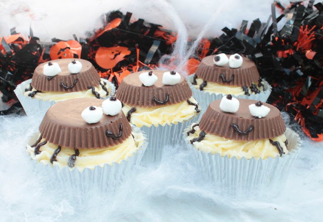 Reese's Peanut Butter Cup Spider Cupcakes for Halloween