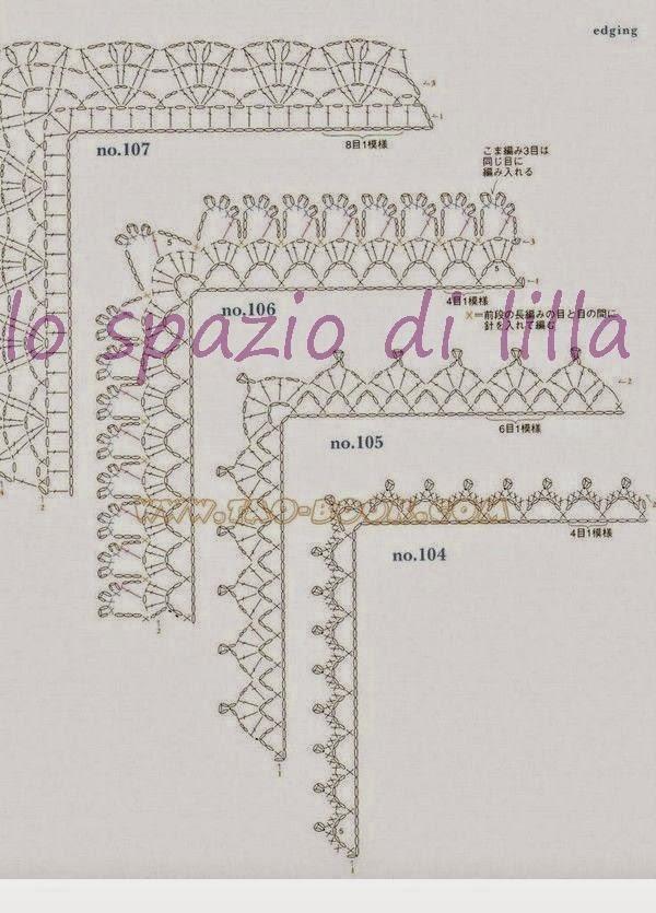 Lo spazio di lilla schemi di bordi crochet con angoli for Bordure all uncinetto per tovaglie