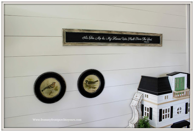 Cottage Farmhouse Foyer-Chalkboard Sign-Bird Pictures-Shiplap-From My Front Porch To Yours