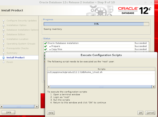 Installing oracle database 12c r2 on Linux wizard screen 8