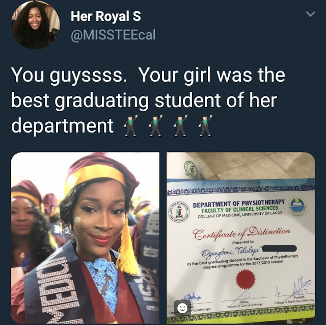 Beautiful lady celebrates as she won the award for best graduating student in UNILAG's department of physiotherapy