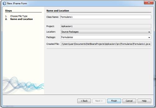 Datos para la creación de un formulario java