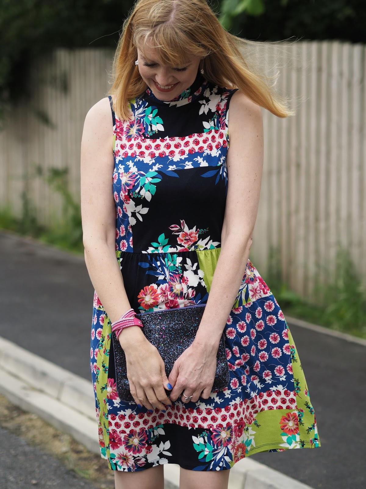 Next multi coloured ruffle floral dress and zebra print shoes