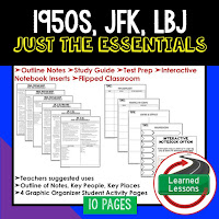 1950s, JFK, LBJ,  American History Outline Notes, American History Test Prep, American History Test Review, American History Study Guide, American History Summer School, American History Unit Reviews, American History Interactive Notebook Inserts