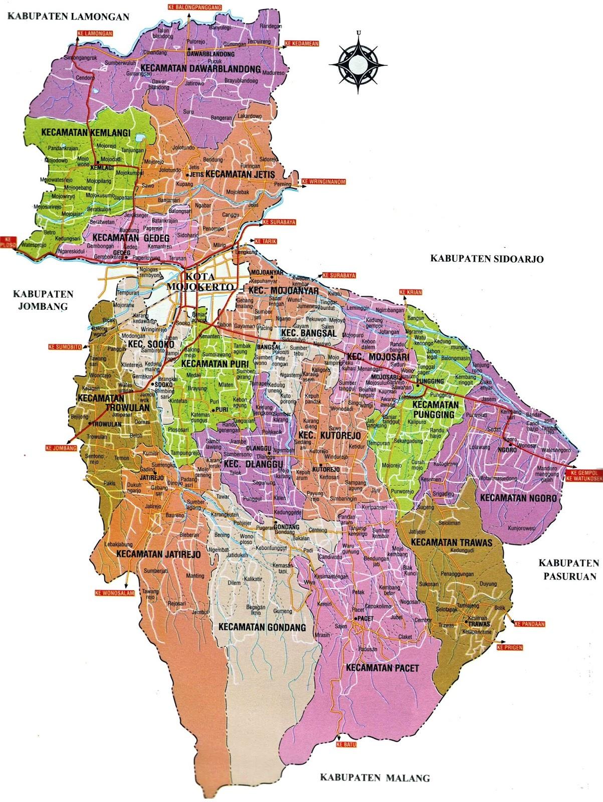 Gambar Peta Kabupaten Mojokerto Jawa Timur Seni Budaya