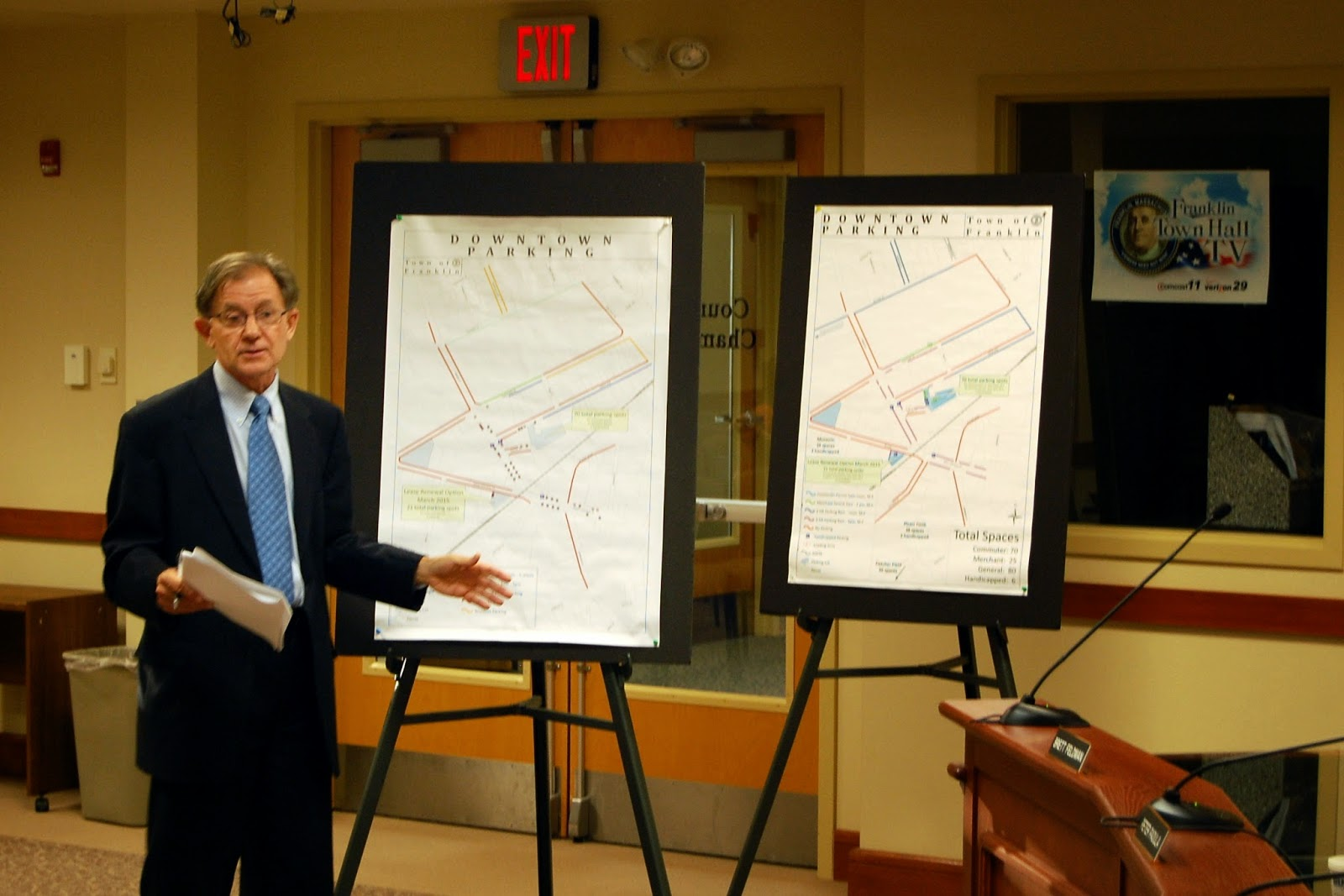 Town Administrator Jeff Nutting discussing the parking proposal
