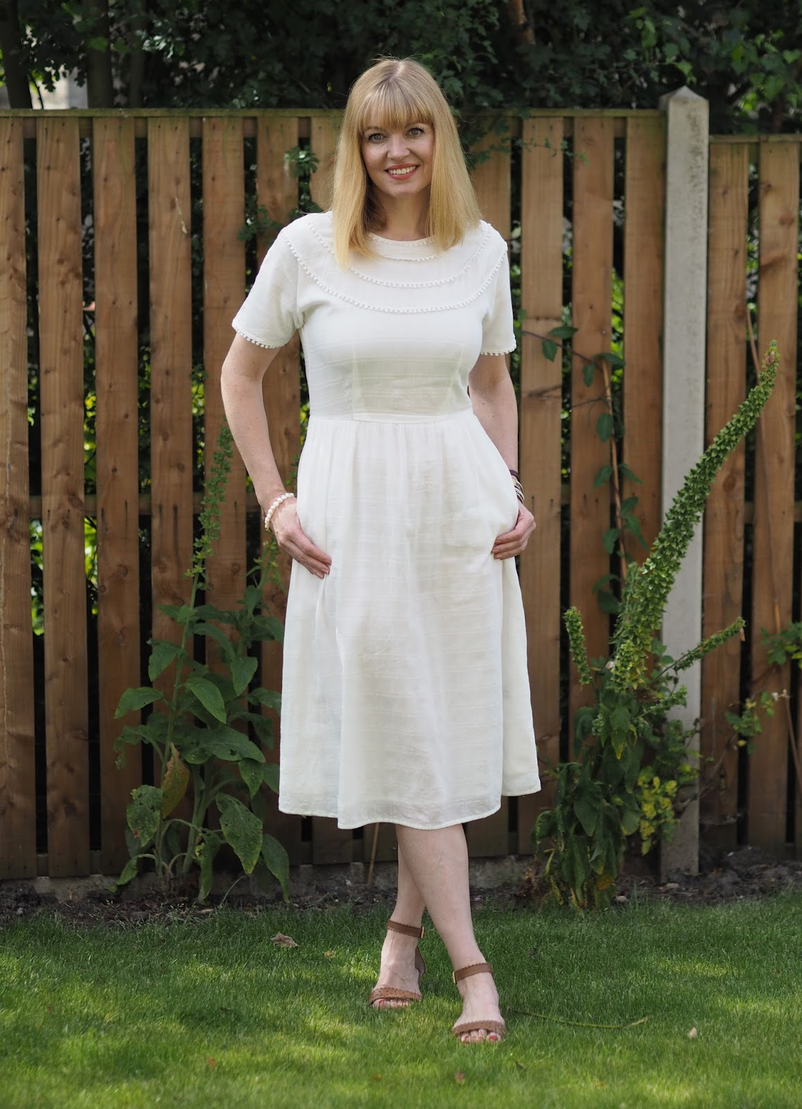 & Other Stories cream pompom midi dress