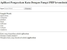 Aplikasi Pengecekan Kata Dengan Fungsi PHP levenshtein