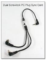 Dual Screwlock PC Plug to RA Mini Plug Sync Cord