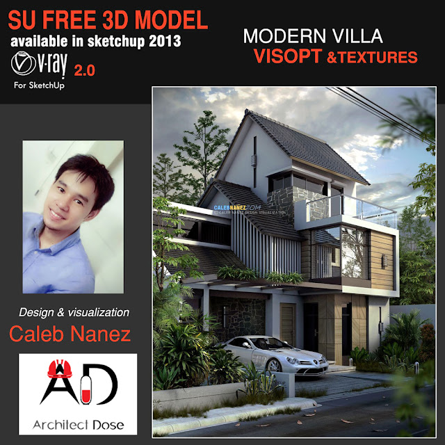 Free sketchup model modern villa and vray Visopt