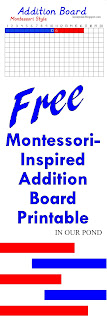 FREE Montessori-Inspired Addition Board Printable from In Our Pond