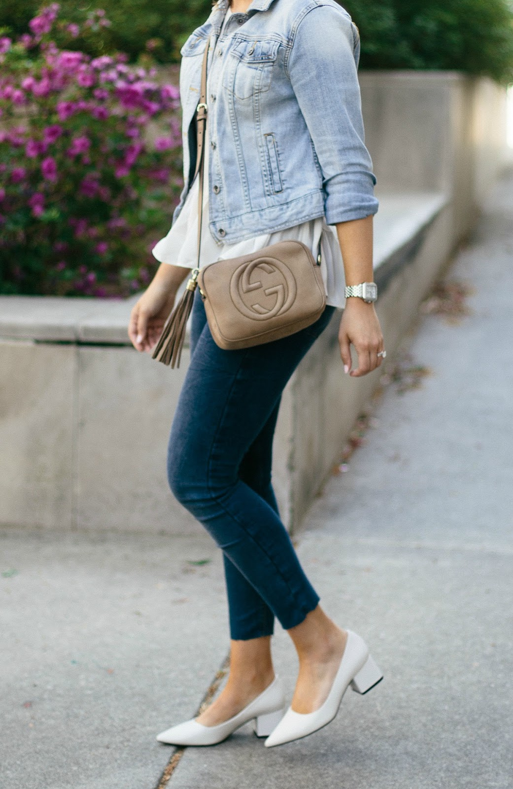 peplum top, gucci crossbody