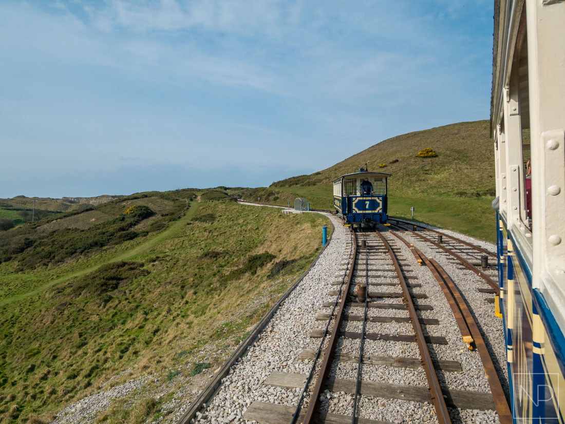Tram in Llandudno approaching the summit
