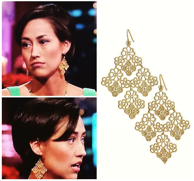 The Bachelor's Kelsey Poe in Stella & Dot Chantilly Lace Earrings on the Women Tell All
