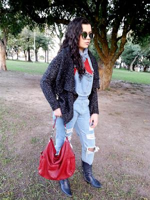 Look com macacão jeans