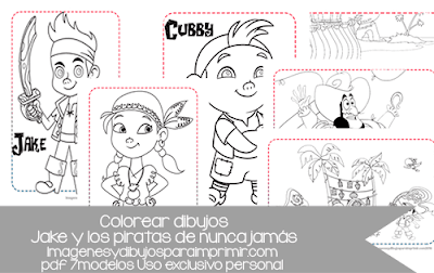 dibujos para colorear de jake y los piratas de nunca jamas