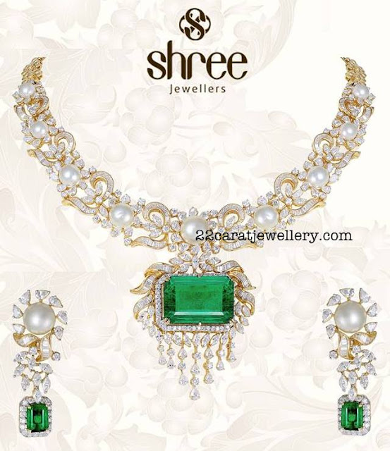 South Sea Pearls Diamonds Set by Shree Jewellers