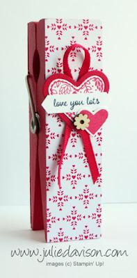Stampin' Up! Sending Love Valentine Jumbo Clothespin Photo Holder #stampinup www.juliedavison.com 2017 Occasions Catalog