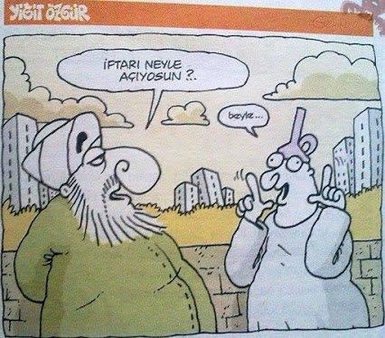iftarı neyle açıyorsun karikatür