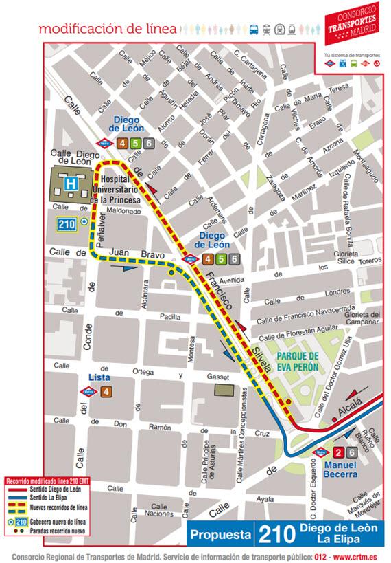 Mapa Lineas Emt Madrid.La Linea 210 De Autobuses Emt Es Ahora Diego De Leon La Elipa Es Por Madrid
