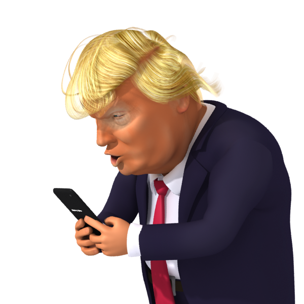 Trump Tweets again - Free Images of Donald Trump 3d Caricature Tweeting.