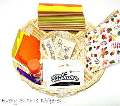 Fall harvest greeting card stamping activity for kids.